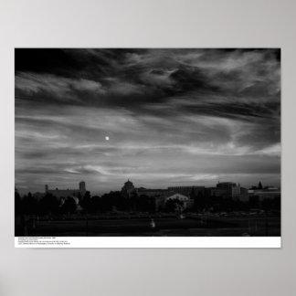 Moonrise from near Residence Halls, November, 1966 Poster