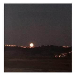 Moonrise on the hills acrylic wall art