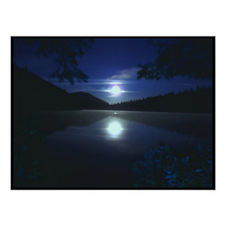 Moonrise Over Elk Lake Poster