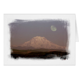 Moonrise over Mount Rainier Notecard