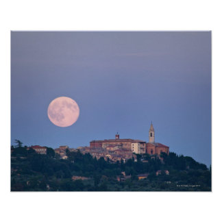 Moonrise over Pienza Poster