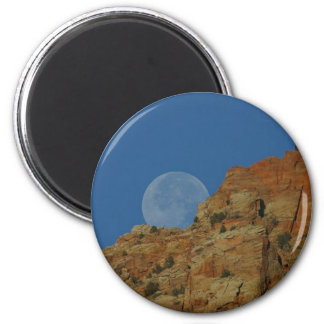 Moonrise Over The Cliffs In Zion Magnet