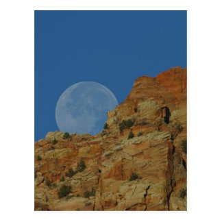 Moonrise Over The Cliffs In Zion Postcard