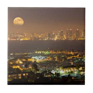 Moonrise over the San Diego skyline Ceramic Tile