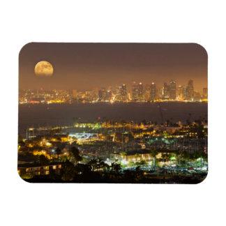 Moonrise over the San Diego skyline Rectangular Photo Magnet