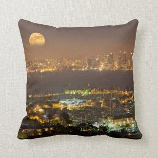 Moonrise over the San Diego skyline Throw Pillow