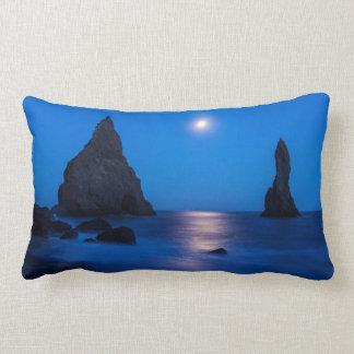 Moonrise reflection on ocean and sea stacks lumbar pillow
