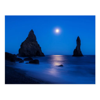 Moonrise reflection on ocean and sea stacks postcard