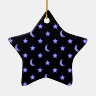 Moons and stars pattern ceramic ornament
