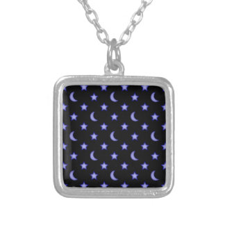 Moons and stars pattern silver plated necklace