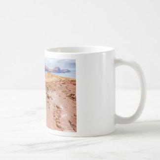 Moonscape lunar landscape with rocks on island coffee mug