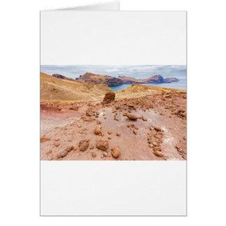 Moonscape lunar landscape with rocks on island greeting card