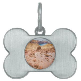 Moonscape lunar landscape with rocks on island pet name tag