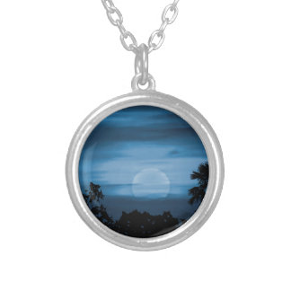 Moonscape Silhouette Ilustration Print Silver Plated Necklace