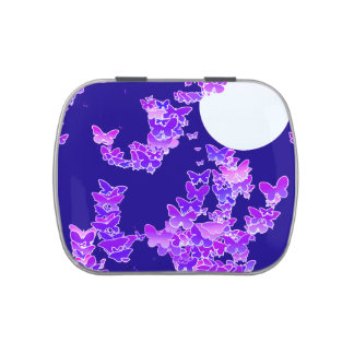 Moonscape with butterflies - lilac, dark blue