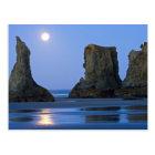 Moonset, Bandon Beach, Oregon. Postcard