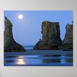 Moonset, Bandon Beach, Oregon. Poster