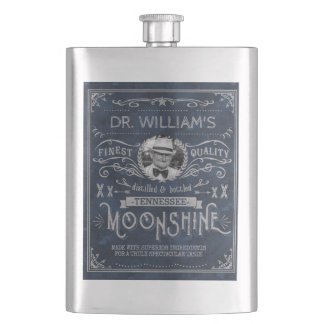 Moonshine Hillbilly Medicine Vintage Custom Blue Hip Flask