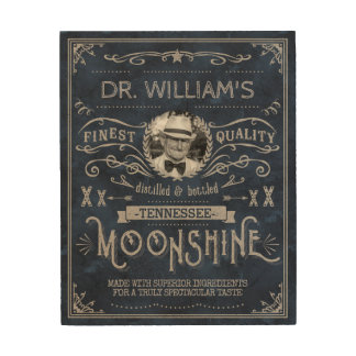 Moonshine Hillbilly Medicine Vintage Custom Blue Wood Wall Decor
