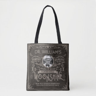 Moonshine Hillbilly Medicine Vintage Custom Brown Tote Bag