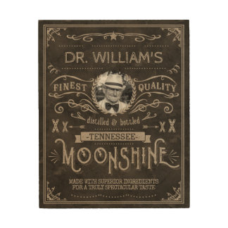 Moonshine Hillbilly Medicine Vintage Custom Brown Wood Print