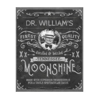 Moonshine Hillbilly Medicine Vintage Custom Gray Canvas Print