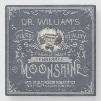 Moonshine Vintage Hillbilly Medicine Custom Blue Stone Coaster