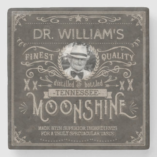 Moonshine Vintage Hillbilly Medicine Custom Brown Stone Coaster