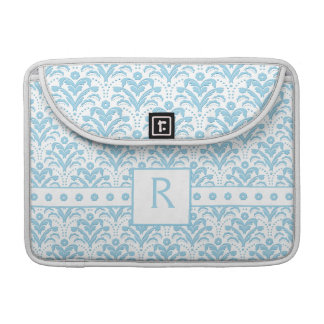 Moonstone Blue Pretty Art Deco Retro Floral Damask Sleeve For MacBook Pro
