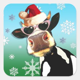Moooootiful Christmas Cow Santa Hat Square Sticker