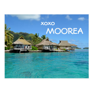 Moorea bungalows with text: 'xoxo Moorea' postcard