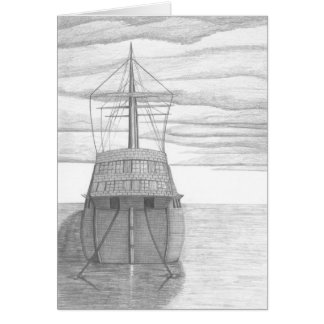 Moored Ship Sketch Card