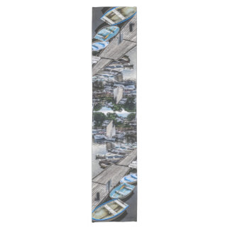 Moored Small Boats In Perkins Cove Short Table Runner