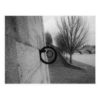 Mooring rings on the Seine. Postcard