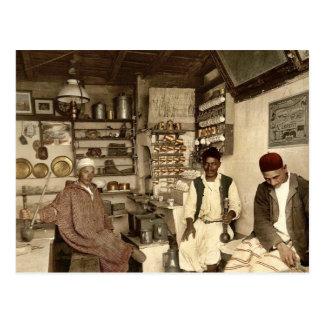 Moorish coffee house, Algiers, Algeria vintage Pho Postcard