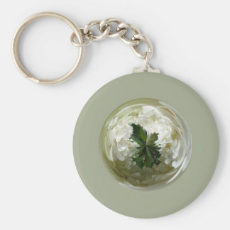 Moorlands flowers in glass globe abstract. key chains