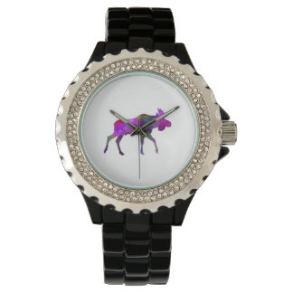 Moose 01 in watercolor wrist watches