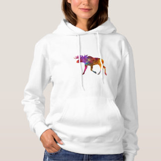 Moose 02 in watercolor hoodie