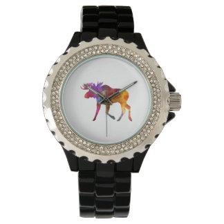 Moose 02 in watercolor wristwatch