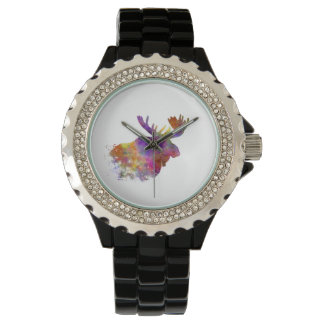 Moose 04 in watercolor wristwatches