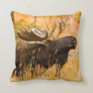 Moose (Alces Alces) Bull In Golden Willows Throw Pillow