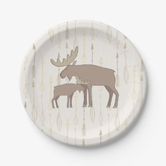 Moose and baby boho Paper Plates