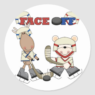 Moose and Bear Hockey Face Off Tshirts and Gifts Round Sticker