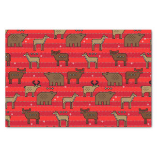 Moose and Bear Red Christmas Tissue Paper