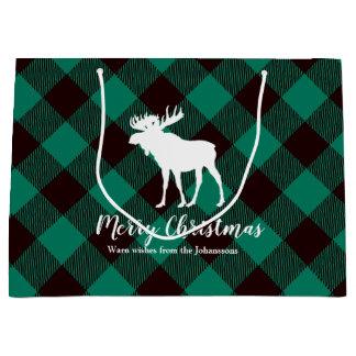 Moose and Buffalo Green Plaid Pattern Christmas Large Gift Bag