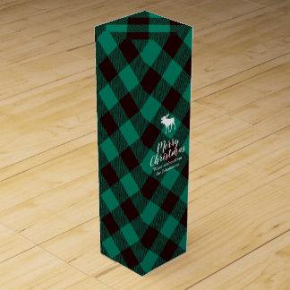Moose and Buffalo Green Plaid Pattern Christmas Wine Gift Box