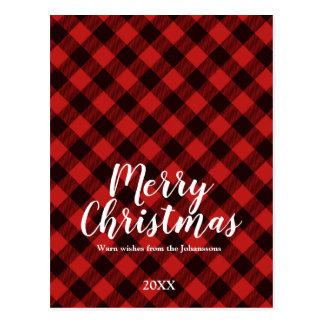 Moose and Buffalo Red and Black Plaid Christmas Postcard