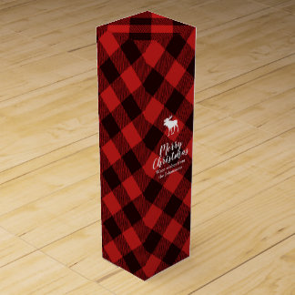 Moose and Buffalo Red Plaid Pattern Christmas Wine Gift Box