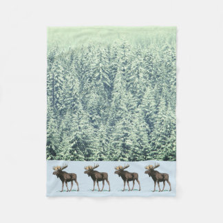 Moose And Winter Trees Fleece Blanket
