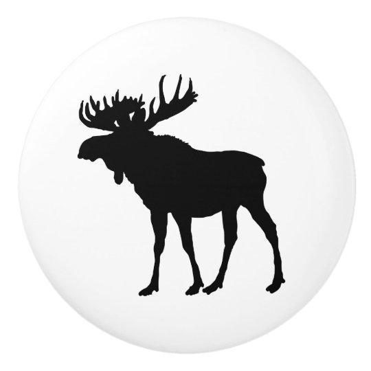 Moose Animal door knob drawer pull Ceramic Knob